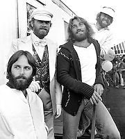 "Beach Boys concert..""Day on the Green"" at the Oakland Alameda County Coliseum, Brian, Dennis,Carl Wilson, Mike Love & Al Jardine. (1976 photo/Ron Riesterer)"