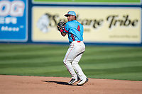 Spokane Indians second baseman Cristian Inoa (4) prepares to make a throw to first base during a Northwest League game against the Vancouver Canadians at Avista Stadium on September 2, 2018 in Spokane, Washington. The Spokane Indians defeated the Vancouver Canadians by a score of 3-1. (Zachary Lucy/Four Seam Images)