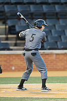 Ian Happ (5) of the Cincinnati Bearcats at bat against the Wake Forest Demon Deacons at Wake Forest Baseball Park on February 21, 2014 in Winston-Salem, North Carolina.  The Bearcats defeated the Demon Deacons 5-0.  (Brian Westerholt/Four Seam Images)