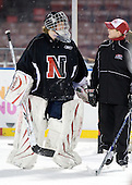 Florence Schelling (NU - 41), ? - The Northeastern University Huskies practice on the ice at Fenway Park on Thursday, January 7, 2010, in Boston, Massachusetts.