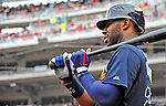 22 July 2012: Atlanta Braves outfielder Jason Heyward on deck during a game against the Washington Nationals at Nationals Park in Washington, DC. The Braves fell to the Nationals 9-2 splitting their 4-game weekend series. Mandatory Credit: Ed Wolfstein Photo