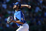 Chicago Cubs' Jason Hammel pitches against the Diamondbacks in a spring training game in Mesa, Ariz., on Thursday, March 17, 2016. The Cubs won 15-4. <br />Photo by Cathleen Allison