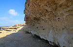 Wave cut notch raised cliff  geological rock formations at Ajuy, Fuerteventura, Canary Islands, Spain