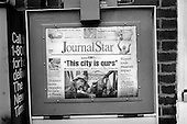 "Peoria, Illinois.USA.April  8, 2003..The Peoria Journal Star newspaper announces that Baghdad is now ""ours""."