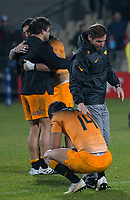 Jaguares head coach Gonzalo Quesada consoles Jaguares' Matias Moroni after the 2019 Super Rugby final between the Crusaders and Jaguares at Orangetheory Stadium in Christchurch, New Zealand on Saturday, 6 July 2019. Photo: Dave Lintott / lintottphoto.co.nz