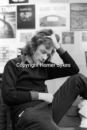 Homer Sykes, in Creative Camera magazine offices, Doughty Steet London  1972. Pic Peter Turner editor of CC