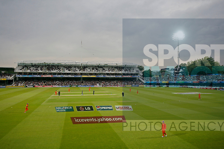 GV (general view) of a floodlit Lord's for the opening match of the tournament.