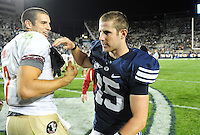Sept. 19, 2009; Provo, UT, USA; BYU Cougars quarterback (15) Max Hall congratulates Florida State Seminoles quarterback Christian Ponder following the game at LaVell Edwards Stadium. Florida State defeated BYU 54-28. Mandatory Credit: Mark J. Rebilas-