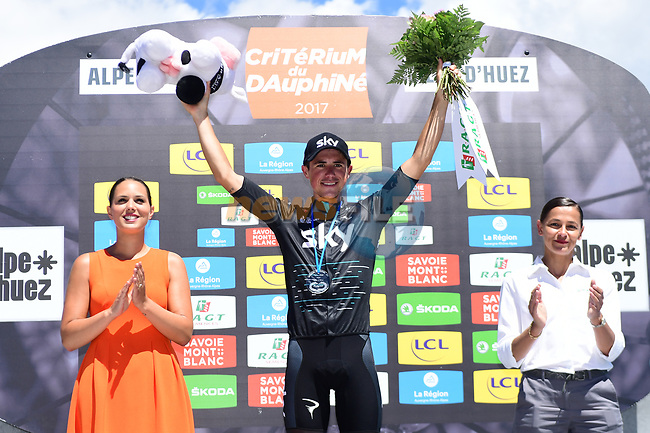 Peter Kennaugh (GBR) Team Sky wins on Alpe d'Huez at the end of Stage 7 of the Criterium du Dauphine 2017, running 168km from Aoste to Alpe d'Huez, France. 10th June 2017. <br /> Picture: ASO/A.Broadway | Cyclefile<br /> <br /> <br /> All photos usage must carry mandatory copyright credit (&copy; Cyclefile | ASO/A.Broadway)