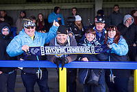 Wycombe Wanderers fans before the Sky Bet League 2 match between AFC Wimbledon and Wycombe Wanderers at the Cherry Red Records Stadium, Kingston, England on 21 November 2015. Photo by Alan  Stanford/PRiME.