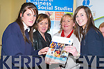 BUSINESS FIRST: Students Tracy OConnor (l) and Jennifer OBrien (R) from Presentation Secondary School were very interested in finding out about Business courses in Tralee IT from Breda ODwyer and Ann Corkery on Thursday during the Careers Exhibition in the Brandon Hotel..