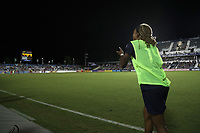 Cary, NC - Saturday April 22, 2017: Jessica McDonald cheers on her teammates at the end of a regular season National Women's Soccer League (NWSL) match between the North Carolina Courage and the Portland Thorns FC at Sahlen's Stadium at WakeMed Soccer Park.