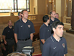 07 June 2006: U.S. players enter the main hall, led by Claudio Reyna (USA) (r) and Jimmy Conrad (USA) (l). The United States Men's National Team was honored at City Hall, the Rathaus, in Hamburg, Germany, where the team is based out of for the FIFA 2006 World Cup tournament.