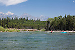 canoes on the North Fork of the Flathead River on the western boundary of Glacier National Park in Montana