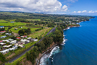 An aerial view of Hilo and the surrounding coastline, Big Island of Hawai'i.