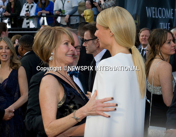 """OSCARS 2012 - GWYNETH PALTROW AND MRS. SPEILBERG.84th Academy Awards arrivals, Kodak Theatre, Hollywood, Los Angeles_26/02/2012.Mandatory Photo Credit: ©Dias/Newspix International..**ALL FEES PAYABLE TO: """"NEWSPIX INTERNATIONAL""""**..PHOTO CREDIT MANDATORY!!: NEWSPIX INTERNATIONAL(Failure to credit will incur a surcharge of 100% of reproduction fees)..IMMEDIATE CONFIRMATION OF USAGE REQUIRED:.Newspix International, 31 Chinnery Hill, Bishop's Stortford, ENGLAND CM23 3PS.Tel:+441279 324672  ; Fax: +441279656877.Mobile:  0777568 1153.e-mail: info@newspixinternational.co.uk"""