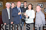 Collette Casey pictured as she was presented with the Club Person of the Year award by Tom Tobin at the Killarney Athletic Awards night held in Scotts Bar, Killarney on Saturday night. Also pictured are Don O'Donoghue, Damien McCormick, Eamon O'Donoghue, Scotts Hotel and Shane Kelly.......................................Christy O'Mahony, captain Beaufort Golf club and Irene McCarthy, Lady Captain Beaufort Golf Club pictured with James Lucey and Sheila McCarthy, who were the winners in their Captain Prize Competition at the course on Sunday. Also pictured are Frank Coffey, President, Sean Coffey, vice captain, Teresa Clifford, Margaret Guerin, Josephine O'Shea, Gretta Hurley, Renee Clifford, Peggy O'Riordan, Maureen Rooney, Mary Barrett, Robin Suter, Gearoid Keating, Jim Hurley, Gabhan O'Loughlin, Rory Browne, Mike Quirke, Matt Templeman and Simon Rainsford...Picture: Ger Cronin LMPA (087) 0522010....PR SHOT..NO REPRODUCTION FEE.............................................................................................................................................................................................................................................