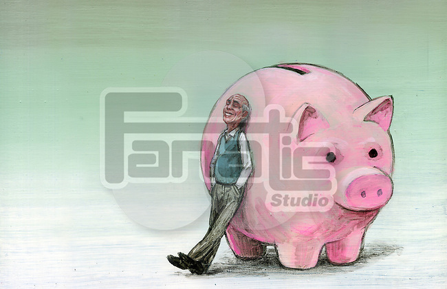 Illustrative image of senior man leaning on piggy bank representing retirement fund
