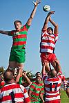 Tony Misa & Tautaiafua Mata'afa compete for lineout ball. Counties Manukau Premier Club Rugby game bewtween Waiuk & Karaka played at Waiuku on Saturday April 11th, 2010..Karaka won the game 24 - 22 after leading 21 - 9 at halftime.