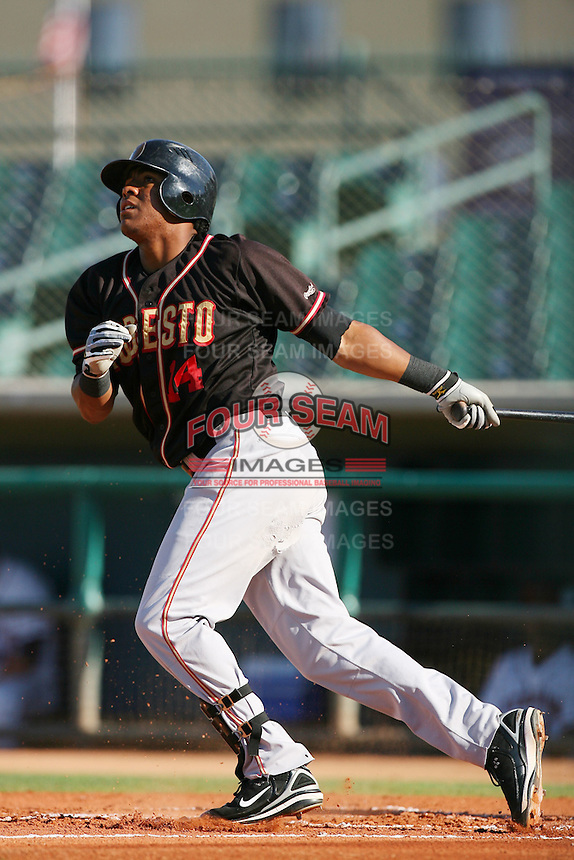 August 24 2008: Daniel Mayora of the Modesto Nuts bats against the Lancaster JetHawks at Clear Channel Stadium in Lancaster,CA.  Photo by Larry Goren/Four Seam Images