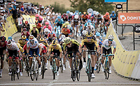 After winning Strade Bianche and Milan-Sanremo just days before, Wout van Aert (BEL/Jumbo - Visma) now also claims the first stage of the Dauphiné that ended in a stretched uphill bunch sprint & thus becomes the first GC leader in this race<br /> <br /> Stage 1: Clermont-Ferrand to Saint-Christo-en-Jarez (218km)<br /> 72st Critérium du Dauphiné 2020 (2.UWT)<br /> <br /> ©kramon