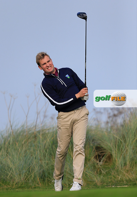 Jonathan Yates (UCD) on the 17th tee during Round 1 of the Irish Intervarsity Championship at Rosslare Golf Club on Wednesday 4th November 2015.<br /> Picture:  Thos Caffrey / www.golffile.ie