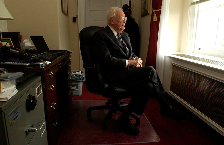 House Historian Robert Remini is interviewed by Roll Call in his Cannon Building office.