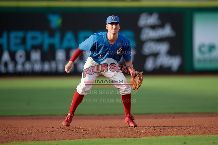 Clearwater Threshers third baseman Luke Williams (9) during a game against the Fort Myers Miracle on May 31, 2018 at Spectrum Field in Clearwater, Florida.  Clearwater defeated Fort Myers 5-1.  (Mike Janes/Four Seam Images)