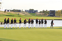 Team USA on the 18th green after Team Europe won the 2018 Ryder Cup at Le Golf National, Ile-de-France, France. 30/09/2018.<br /> Picture Thos Caffrey / Golffile.ie<br /> <br /> All photo usage must carry mandatory copyright credit (© Golffile | Thos Caffrey)