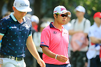 Cameron Smith (AUS) and Hideki Matsuyama (JPN) walking off the 3rd tee during the 3rd round of the WGC HSBC Champions, Sheshan Golf Club, Shanghai, China. 02/11/2019.<br /> Picture Fran Caffrey / Golffile.ie<br /> <br /> All photo usage must carry mandatory copyright credit (© Golffile | Fran Caffrey)