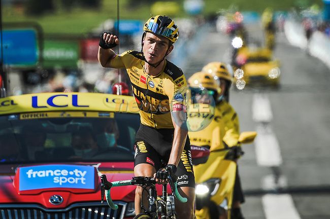 Sepp Kuss (USA) Team Jumbo-Visma wins Stage 5 of Criterium du Dauphine 2020, running 153.5km from Megeve to Megeve, France. 16th August 2020.<br /> Picture: ASO/Alex Broadway | Cyclefile<br /> All photos usage must carry mandatory copyright credit (© Cyclefile | ASO/Alex Broadway)