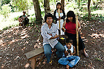 Mbya Guarani chief Arturo Duarte and his family in Andresito village near San Ignacio, Misiones, Argentina.