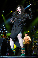 Pete Burns of Dead or Alive<br /> Performing at the PWL Hit Factory Live, o2 Arena, London, England, UK, <br /> 21st December 2012.<br /> music live on stage concert gig full length black dress gloves green ankle boots funny pouting <br /> CAP/MAR<br /> &copy; Martin Harris/Capital Pictures /MediaPunch ***NORTH AND SOUTH AMERICAS ONLY*** /MediaPunch ***NORTH AND SOUTH AMERICAS ONLY***