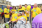Bee for Battens: Thomas Falvey is pictured in bed with Billy Keane. As Liam O'Donoghue, Margret Keane-Stack, Owen Brunty, Kevin Keane and John Dee get ready for the bed push.The event took place from Ballybunion to Asdee last Saturday. All the money raised goes to the Bee for Battens campaign.
