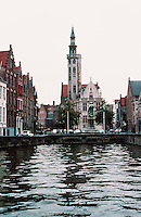Bruges: View of church from canal.  Photo '87.