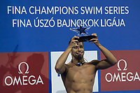 Chad Le Clos of Republic of South Africa receives awards after winning the Men's 100m Butterfly final at the FINA Champions Swim Series at the Danube Arena in Budapest, Hungary on May 12, 2019. ATTILA VOLGYI