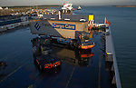 Loading heavy goods vehicle on to Stena ferry to Netherlands at the port of Harwich, Essex, England