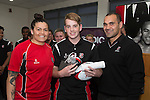 Under 16's Player of the Year Adam Brash from Pukekohe High School with Steeler Onosai Auva'a and Black Fern Rawinia Everitt. Counties Manukau Rugby Unions Junior Prize giving held at ECOLight stadium on Thursday October 22nd 2015. Photo by Richard Spranger