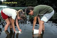 FA27-079b  Children collecting animals at pond