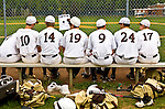 High school baseball team on the bench at Watchung Hills High School, Warren, NJ 5/15/08.