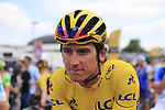 Race leader Yellow Jersey Geraint Thomas (WAL) Team Sky lines up for the start in Mondorf-les-Bains of Stage 4 of the 104th edition of the Tour de France 2017, running 207.5km from Mondorf-les-Bains, Luxembourg to Vittel, France. 4th July 2017.<br /> Picture: Eoin Clarke | Cyclefile<br /> <br /> <br /> All photos usage must carry mandatory copyright credit (&copy; Cyclefile | Eoin Clarke)