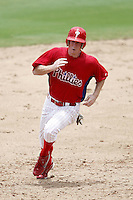July 10, 2009:  Right Fielder Brian Gump (37) of the GCL Phillies during a game at Bright House Networks Field in Clearwater, FL.  The GCL Phillies are the Gulf Coast Rookie League affiliate of the Philadelphia Phillies.  Photo By Mike Janes/Four Seam Images