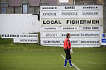 Strathspey Thistle's goalkeeper Willie Ridgers is framed by an advertisement showing the names of Fraserburgh fishing boats at Bellslea Park, during the Highland League fixture between Fraserburgh and visitors Strathspey Thistle. Nicknamed 'The Broch,' Fraserburgh have been members of the Highland League since 1921 having been formed 11 years earlier. The match ended in a 2-2 draw in front of a crowd of 302.