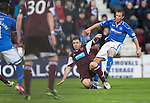 Hearts v St Johnstone....02.11.13     SPFL<br /> Chris Millar's shot at goal is blocked<br /> Picture by Graeme Hart.<br /> Copyright Perthshire Picture Agency<br /> Tel: 01738 623350  Mobile: 07990 594431