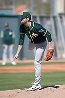 Oakland Athletics pitcher James Naile (61) during Spring Training Camp on February 24, 2018 at Lew Wolff Training Complex in Mesa, Arizona. (Zachary Lucy/Four Seam Images)