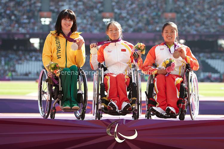 Medallists in the women's T53 200m - Gold Lisha Huang (CHN), silver Angela Ballard (AUS), bronze Hongzhuan Zhou (CHN).. London Paralympic Games - Athletics 7.9.12