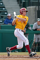 Garrett Stubbs (51) of the USC Trojans bats against the Jacksonville Dolphins at Dedeaux Field on February 19, 2012 in Los Angeles,California. USC defeated Jacksonville 4-3.(Larry Goren/Four Seam Images)