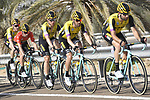 The peloton with Team Jumbo-Visma on the front during Stage 3 of the 2019 UAE Tour, running 179km form Al Ain to Jebel Hafeet, Abu Dhabi, United Arab Emirates. 26th February 2019.<br /> Picture: LaPresse/Fabio Ferrari | Cyclefile<br /> <br /> <br /> All photos usage must carry mandatory copyright credit (© Cyclefile | LaPresse/Fabio Ferrari)