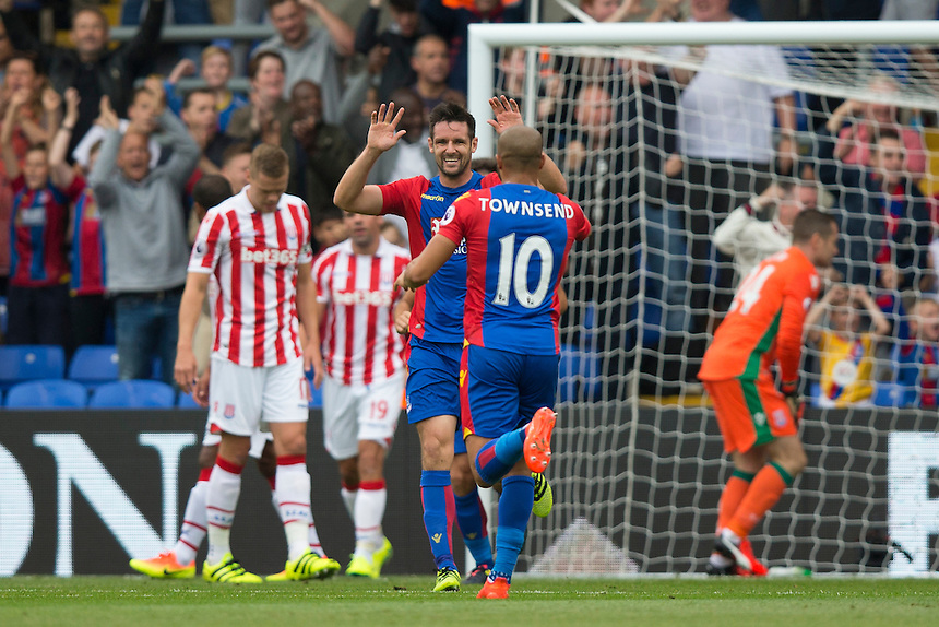 Crystal Palace's Scott Dann celebrates the opening goal with team mate Andros Townsend<br /> <br /> Photographer Craig Mercer/CameraSport<br /> <br /> The Premier League - Crystal Palace v Stoke City - Sunday September 18th 2016 - Selhurst Park - London<br /> <br /> World Copyright &copy; 2016 CameraSport. All rights reserved. 43 Linden Ave. Countesthorpe. Leicester. England. LE8 5PG - Tel: +44 (0) 116 277 4147 - admin@camerasport.com - www.camerasport.com