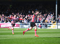 Lincoln City's Shay McCartan celebrates scoring the opening goal<br /> <br /> Photographer Andrew Vaughan/CameraSport<br /> <br /> The EFL Sky Bet League Two - Lincoln City v Cheltenham Town - Saturday 13th April 2019 - Sincil Bank - Lincoln<br /> <br /> World Copyright &copy; 2019 CameraSport. All rights reserved. 43 Linden Ave. Countesthorpe. Leicester. England. LE8 5PG - Tel: +44 (0) 116 277 4147 - admin@camerasport.com - www.camerasport.com